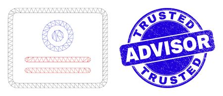 Web carcass certificate pictogram and Trusted Advisor seal stamp. Blue vector rounded grunge seal with Trusted Advisor caption.