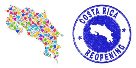 Celebrating Costa Rica map mosaic and reopening scratched seal. Vector mosaic Costa Rica map is created with scattered stars, hearts, balloons. Rounded rough blue seal with scratched rubber texture.