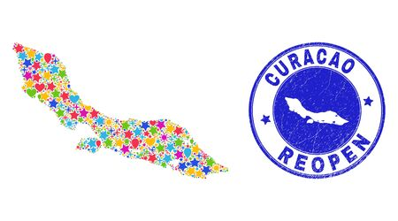 Celebrating Curacao Island map mosaic and reopening rubber stamp seal. Vector mosaic Curacao Island map is designed of randomized stars, hearts, balloons.