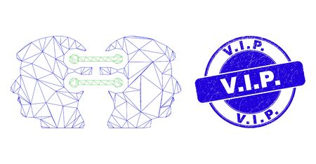 Web mesh head links integration icon and V.I.P. seal. Blue vector round grunge seal with V.I.P. text. Abstract frame mesh polygonal model created from head links integration icon.