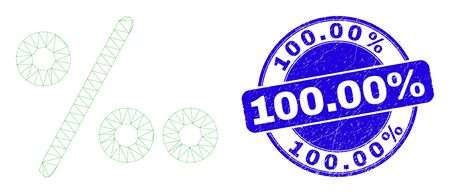 Web mesh per mille symbol icon and 100.00% watermark. Blue vector round scratched watermark with 100.00% phrase. Abstract frame mesh polygonal model created from per mille symbol icon.