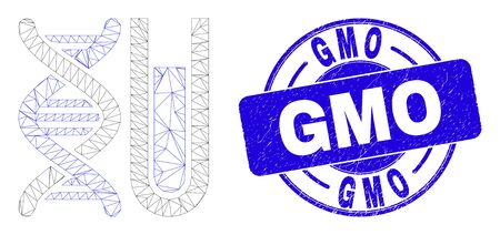 Web mesh DNA testtube pictogram and GMO seal stamp. Blue vector rounded grunge stamp with GMO text. Abstract carcass mesh polygonal model created from DNA testtube pictogram.