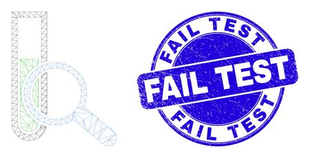 Web carcass explore test-tube pictogram and Fail Test seal stamp. Blue vector round scratched seal stamp with Fail Test text.