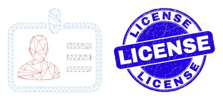 Web carcass person badge icon and License seal stamp. Blue vector rounded grunge seal stamp with License message. Abstract carcass mesh polygonal model created from person badge icon.