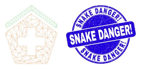 Web carcass hospital icon and Snake Danger! seal. Blue vector rounded textured seal stamp with Snake Danger! caption. Abstract frame mesh polygonal model created from hospital icon. 일러스트