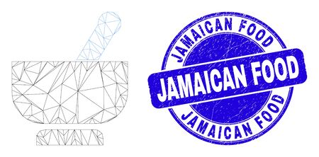 Web carcass mortar icon and Jamaican Food stamp. Blue vector round scratched stamp with Jamaican Food title. Abstract carcass mesh polygonal model created from mortar icon.