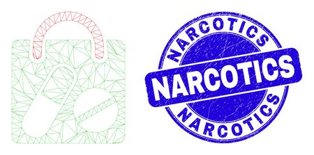 Web mesh drugs shopping bag icon and Narcotics stamp. Blue vector rounded grunge stamp with Narcotics message. Abstract frame mesh polygonal model created from drugs shopping bag icon. 向量圖像