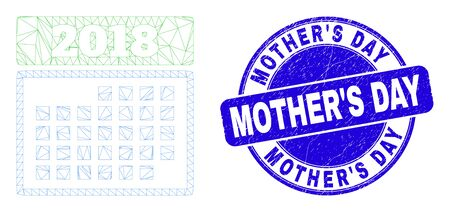 Web carcass 2018 calendar page pictogram and Mother'S Day seal stamp. Blue vector rounded textured seal stamp with Mother'S Day title.