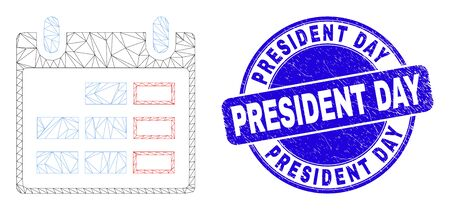 Web mesh calendar page icon and President Day watermark. Blue vector rounded grunge watermark with President Day message. Abstract carcass mesh polygonal model created from calendar page icon.