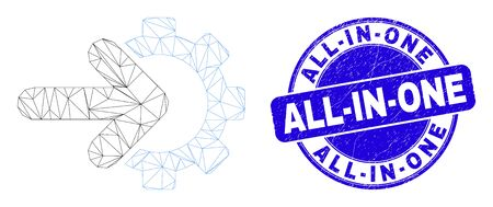 Web mesh cog arrow integration icon and All-In-One seal. Blue vector rounded scratched seal stamp with All-In-One message.