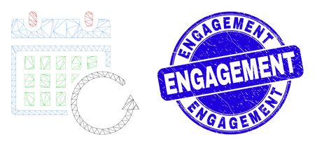 Web mesh calendar rollback icon and Engagement watermark. Blue vector rounded scratched watermark with Engagement caption. Abstract frame mesh polygonal model created from calendar rollback icon.