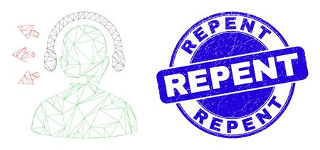 Web carcass operator talk pictogram and Repent seal stamp. Blue vector rounded distress stamp with Repent text. Abstract carcass mesh polygonal model created from operator talk pictogram.