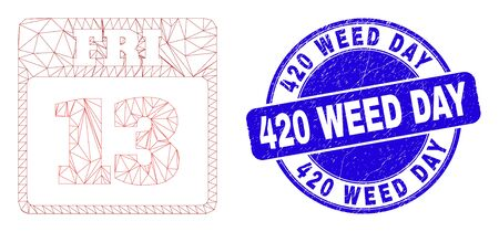 Web mesh 13th Friday calendar page icon and 420 Weed Day seal stamp. Blue vector round scratched seal stamp with 420 Weed Day caption.