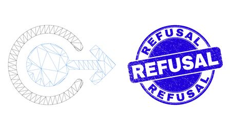 Web carcass logout pictogram and Refusal seal. Blue vector round grunge seal with Refusal title. Abstract carcass mesh polygonal model created from logout pictogram.