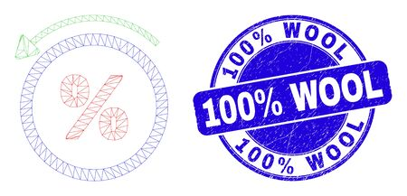 Web mesh percent back icon and 100% Wool stamp. Blue vector rounded grunge stamp with 100% Wool message. Abstract carcass mesh polygonal model created from percent back icon.