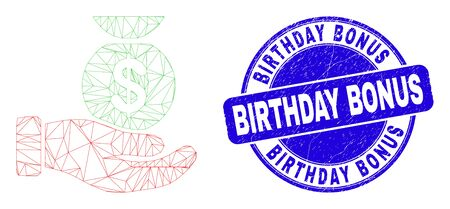 Web mesh financial service hand pictogram and Birthday Bonus seal stamp. Blue vector round textured stamp with Birthday Bonus caption.