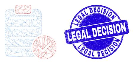 Web carcass accept pad text pictogram and Legal Decision seal. Blue vector rounded textured seal stamp with Legal Decision title.