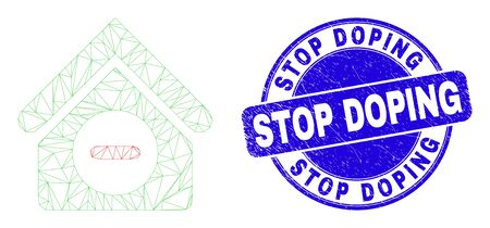 Web mesh forbidden house icon and Stop Doping stamp. Blue vector rounded textured stamp with Stop Doping title. Abstract frame mesh polygonal model created from forbidden house icon. Vectores