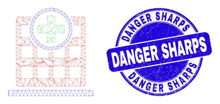 Web mesh hospital building icon and Danger Sharps seal stamp. Blue vector round textured seal stamp with Danger Sharps message. Abstract frame mesh polygonal model created from hospital building icon.