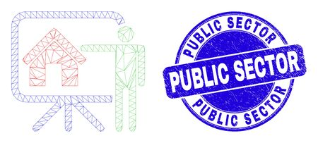 Web carcass realtor public report icon and Public Sector stamp. Blue vector rounded distress seal stamp with Public Sector caption. Vecteurs