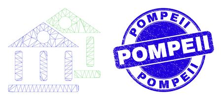 Web mesh museum buildings icon and Pompeii seal stamp. Blue vector rounded distress stamp with Pompeii title. Abstract frame mesh polygonal model created from museum buildings pictogram.