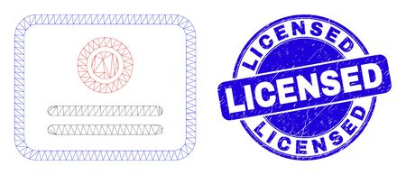 Web mesh certificate icon and Licensed stamp. Blue vector round distress seal with Licensed text. Abstract frame mesh polygonal model created from certificate icon.