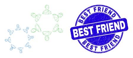 Web mesh people collaborations pictogram and Best Friend seal stamp. Blue vector rounded distress seal stamp with Best Friend message. Illusztráció