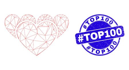 Web mesh love hearts pictogram and #Top100 stamp. Blue vector round grunge watermark with #Top100 message. Abstract carcass mesh polygonal model created from love hearts pictogram. Ilustração