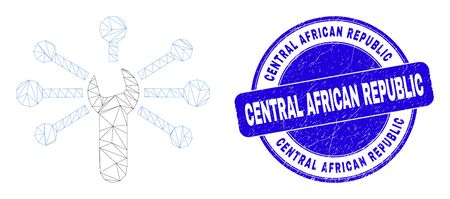 Web mesh wrench links icon and Central African Republic seal. Blue vector rounded textured seal stamp with Central African Republic text. 向量圖像