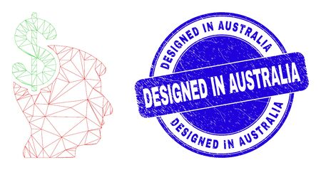 Web mesh business thinking pictogram and Designed in Australia watermark. Blue vector rounded grunge watermark with Designed in Australia phrase.