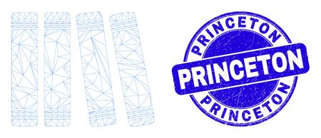 Web carcass books icon and Princeton stamp. Blue vector round scratched seal stamp with Princeton text. Abstract frame mesh polygonal model created from books icon.  イラスト・ベクター素材