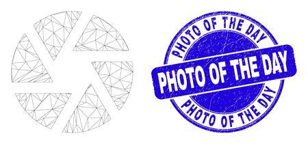 Web carcass shutter pictogram and Photo of the Day seal stamp. Blue vector round distress seal stamp with Photo of the Day message. Abstract carcass mesh polygonal model created from shutter icon.