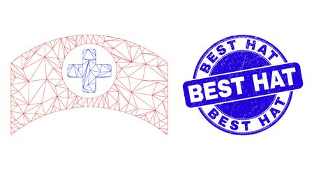 Web carcass medical cap pictogram and Best Hat stamp. Blue vector round textured stamp with Best Hat phrase. Abstract frame mesh polygonal model created from medical cap pictogram.