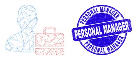 Web carcass user case icon and Personal Manager stamp. Blue vector rounded scratched seal stamp with Personal Manager caption. Abstract carcass mesh polygonal model created from user case icon.