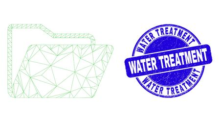 Web carcass folder pictogram and Water Treatment stamp. Blue vector round scratched seal stamp with Water Treatment text. Abstract carcass mesh polygonal model created from folder pictogram. Vectores