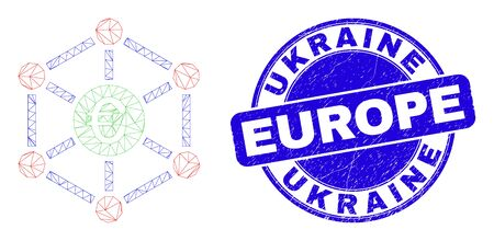 Web mesh euro network pictogram and Ukraine Europe stamp. Blue vector round grunge watermark with Ukraine Europe title. Abstract frame mesh polygonal model created from euro network pictogram. Çizim