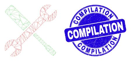 Web carcass configuration tools icon and Compilation seal stamp. Blue vector round distress seal stamp with Compilation message.
