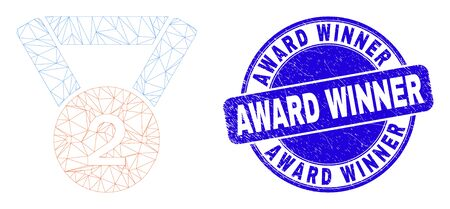 Web carcass 2nd place medal pictogram and Award Winner seal. Blue vector round textured seal with Award Winner caption. Abstract carcass mesh polygonal model created from 2nd place medal pictogram.