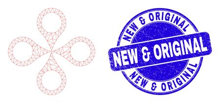 Web mesh quadrocopter pictogram and New & Original seal stamp. Blue vector rounded grunge seal stamp with New & Original phrase.