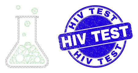 Web carcass chemical retort icon and HIV Test seal stamp. Blue vector rounded scratched seal stamp with HIV Test message. Abstract carcass mesh polygonal model created from chemical retort icon.