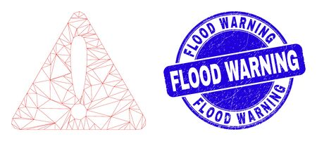 Web mesh warning icon and Flood Warning seal stamp. Blue vector rounded distress stamp with Flood Warning phrase. Abstract frame mesh polygonal model created from warning icon. 일러스트