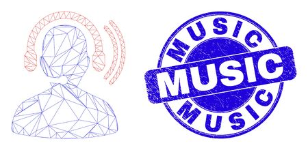 Web mesh radio operator headset pictogram and Music seal. Blue vector rounded scratched seal with Music phrase. Abstract carcass mesh polygonal model created from radio operator headset icon. Vettoriali