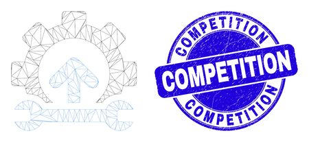 Web carcass gear integration arrow pictogram and Competition seal stamp. Blue vector round scratched seal stamp with Competition title.