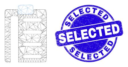 Web carcass pad list items pictogram and Selected stamp. Blue vector round textured seal stamp with Selected title. Abstract carcass mesh polygonal model created from pad list items pictogram.