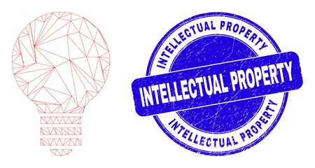Web mesh electric bulb pictogram and Intellectual Property seal. Blue vector round grunge seal with Intellectual Property text. Abstract carcass mesh polygonal model created from electric bulb icon. 向量圖像