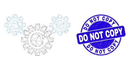 Web carcass gear rotation icon and Do Not Copy stamp. Blue vector rounded grunge seal stamp with Do Not Copy text. Abstract carcass mesh polygonal model created from gear rotation pictogram.