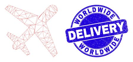 Web mesh airplane pictogram and Worldwide Delivery stamp. Blue vector rounded grunge seal with Worldwide Delivery phrase. Abstract carcass mesh polygonal model created from airplane pictogram.