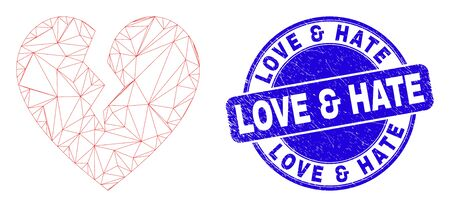 Web carcass broken heart icon and Love & Hate seal stamp. Blue vector rounded grunge stamp with Love & Hate caption. Abstract carcass mesh polygonal model created from broken heart icon. Banque d'images - 149593519