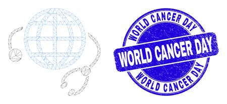 Web mesh global medical service icon and World Cancer Day watermark. Blue vector rounded grunge watermark with World Cancer Day text. Ilustração