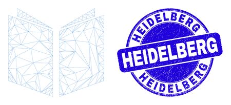 Web carcass open book icon and Heidelberg seal stamp. Blue vector round distress stamp with Heidelberg text. Abstract carcass mesh polygonal model created from open book icon.